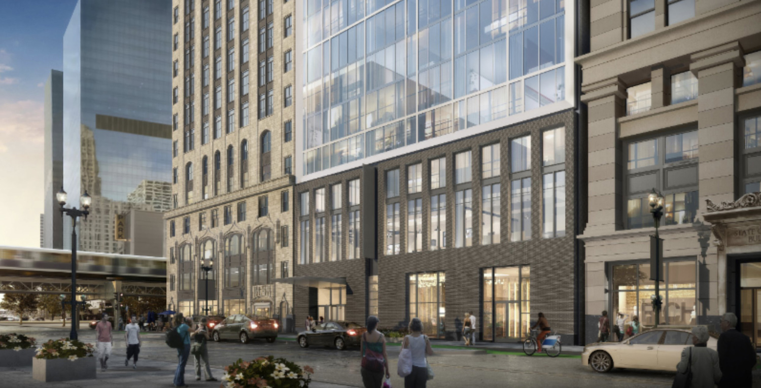 Streetscape View of 180 W Randolph Street. Rendering by DLR Group