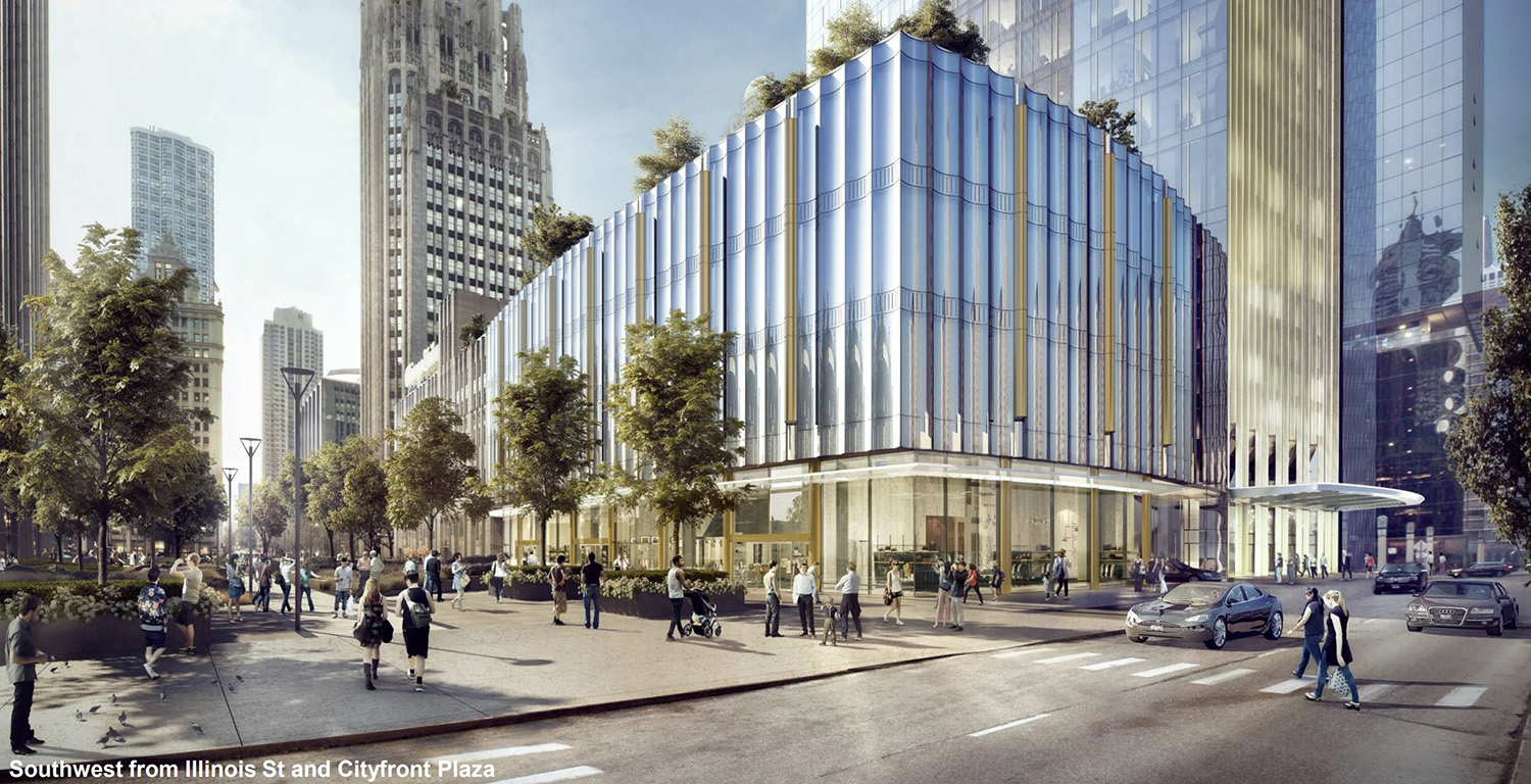 Streetscape View of Tribune East Tower. Rendering by Adrian Smith & Gordon Gill Architecture