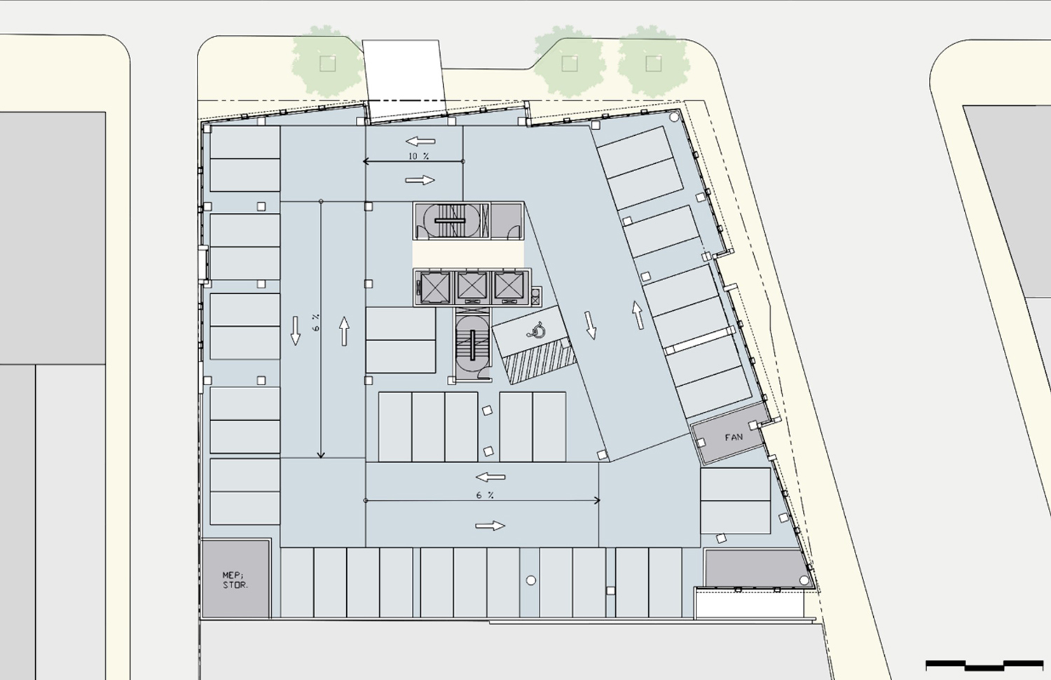 Typical Parking Floor Plan for 1130 N State Street. Drawing by SCB