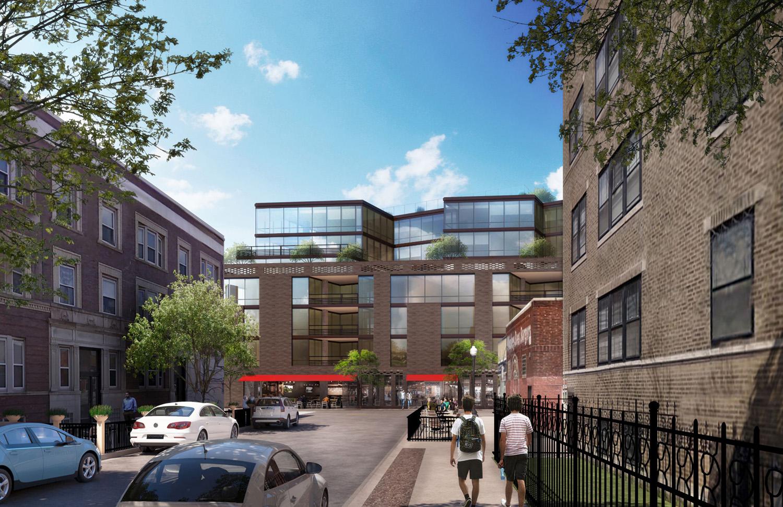 View of 3460 N Broadway. Rendering by Optima Inc