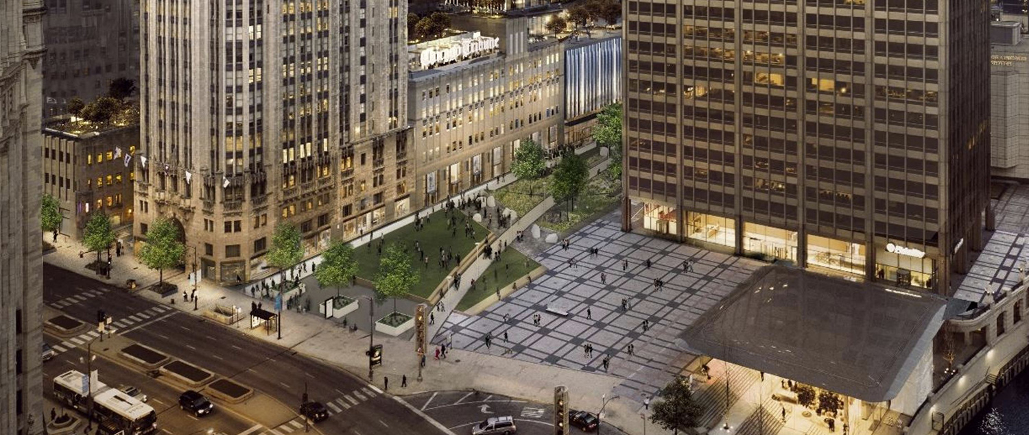View of Pioneer Court. Rendering by Adrian Smith & Gordon Gill Architecture