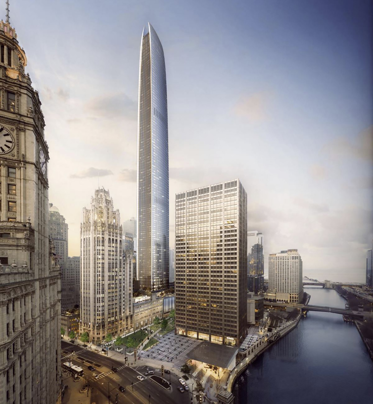 View of Tribune East Tower. Rendering by Adrian Smith & Gordon Gill Architecture