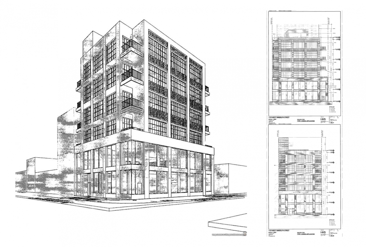 Perspective and elevation drawings of 1123 W Randolph Street