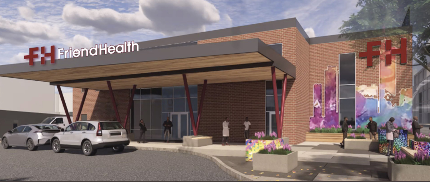 View of Friend Health Medical Center. Rendering by Friend Health and DL3 Realty