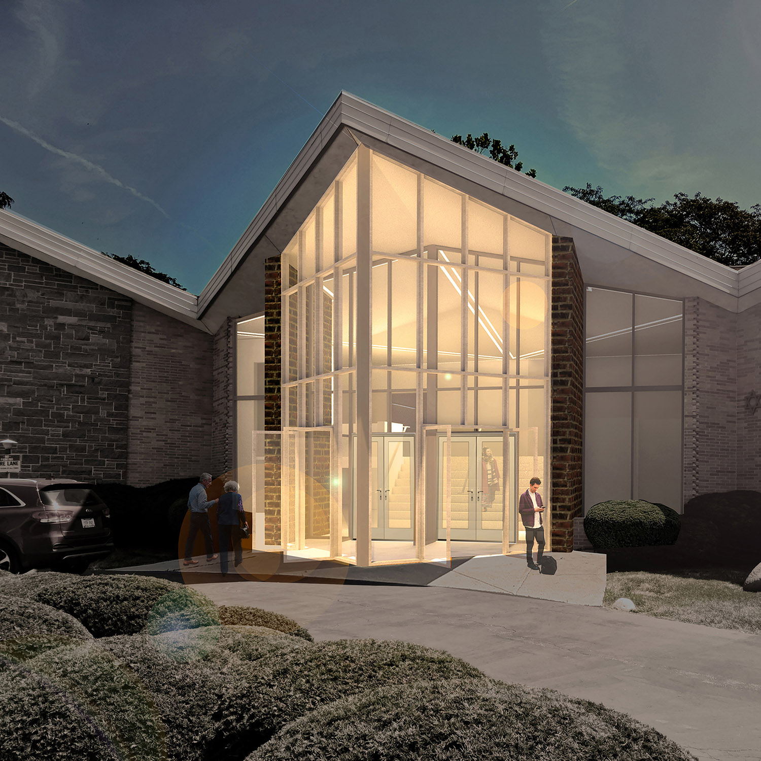 Entrance to Skokie Valley Synagogue. Rendering by Studio ST Architects