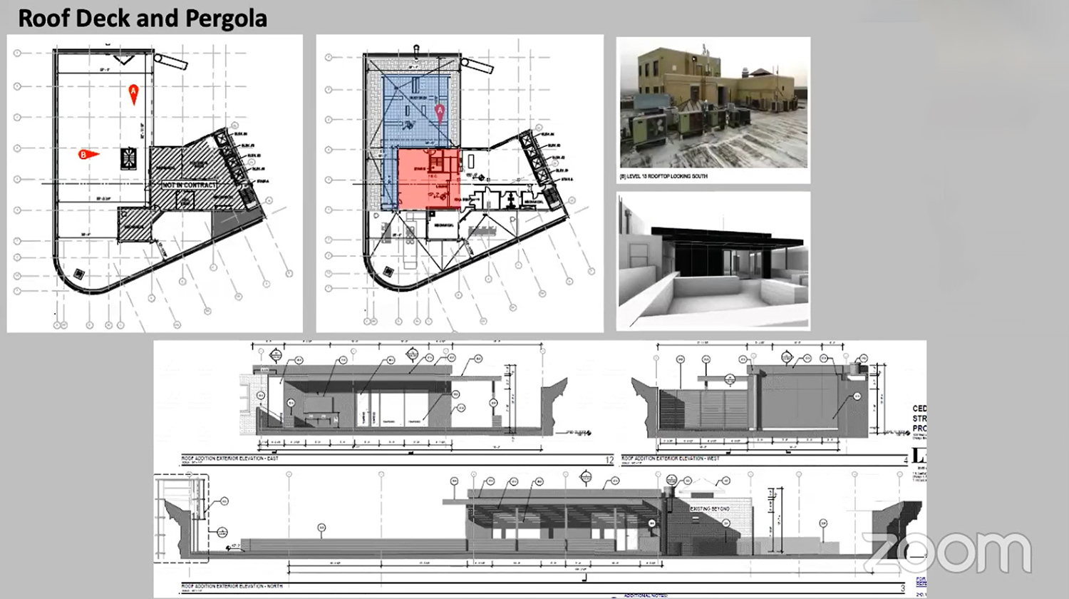Rooftop Deck and Pergola at 4753 N Broadway. Drawings by Level Architecture