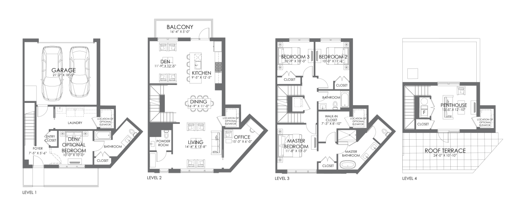 Alcove Wicker Park townhome 'F' full floor plans