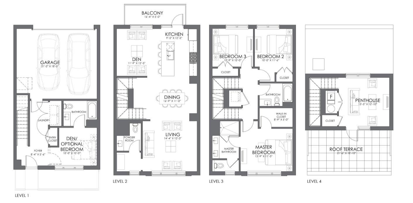 Alcove Wicker Park townhome 'K' full floor plans
