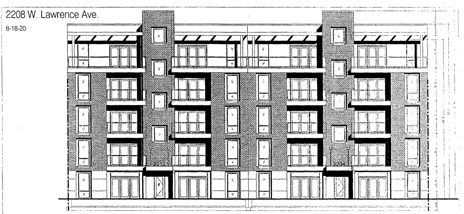 South Elevation for 2208 W Lawrence Avenue. Drawing By Kutlesa Hernandez Architects