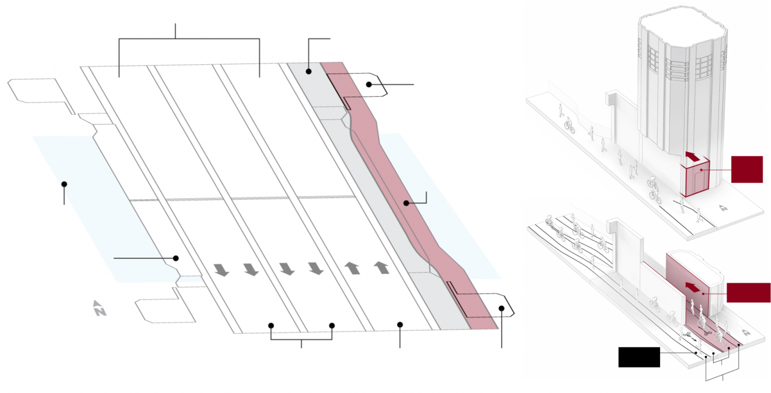 Diagrams of Navy Pier Flyover third-phase bridge portion (in red)