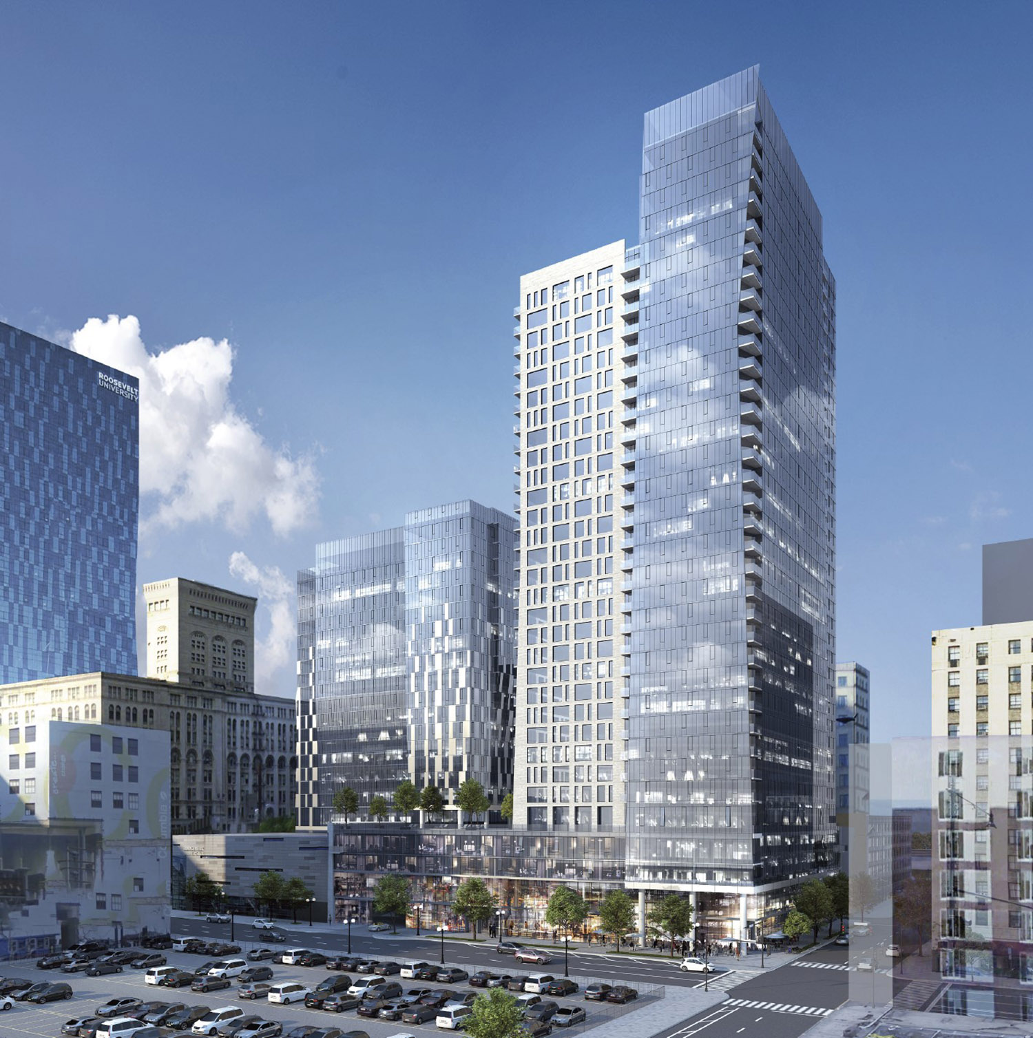 View of 525 S Wabash Avenue. Rendering by BKV Group