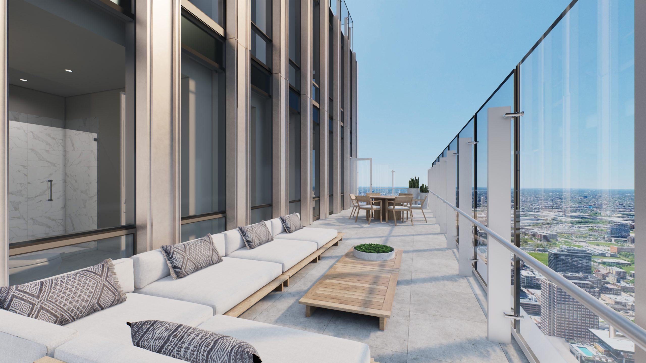 One Chicago Square condominium terrace