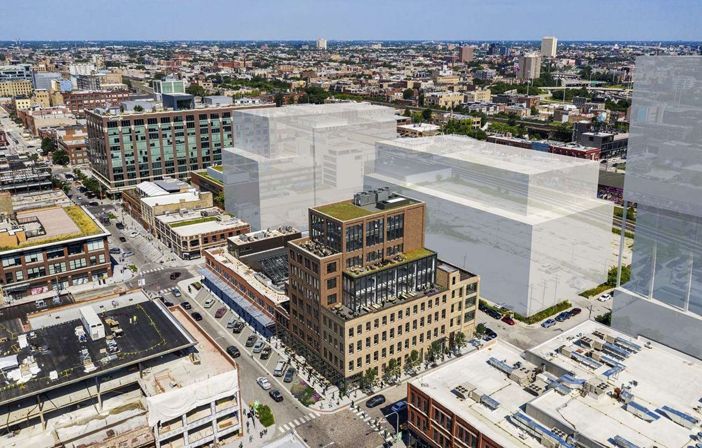 Aerial View of 900 W Fulton Market. Rendering by Hartshorne Plunkard Architecture