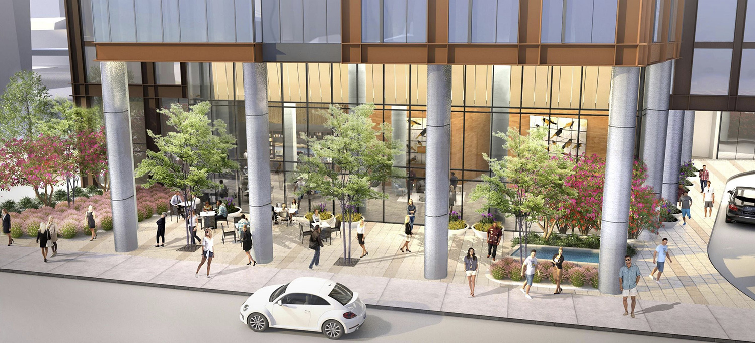 Aerial View of Public Plaza at 344 N Canal Street. Rendering by SCB