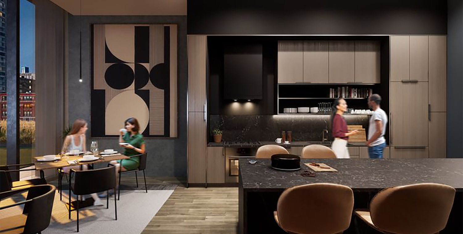 Amenity Kitchen at The Reed. Rendering by Perkins + Will