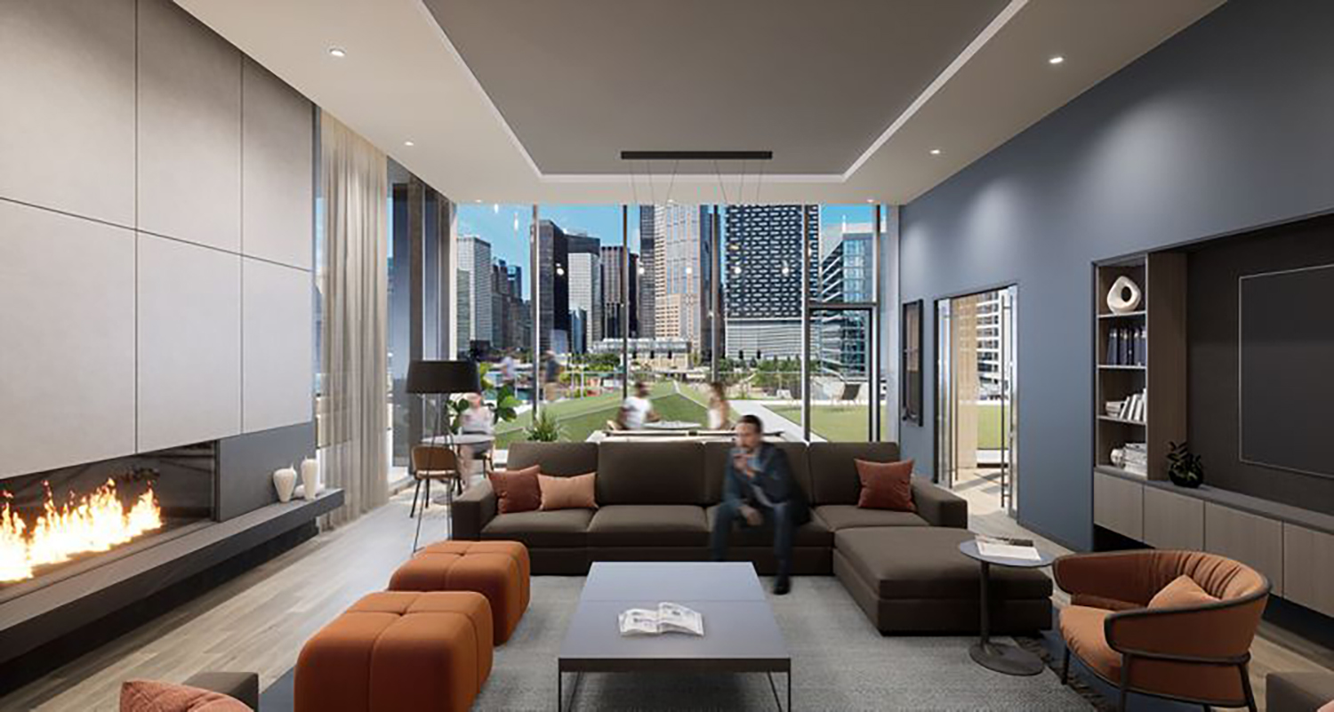 Eighth Floor Amenity Space at The Reed. Rendering by Perkins + Will