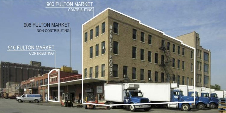 Existing Buildings at 900 W Fulton Market. Diagram by Hartshorne Plunkard Architecture