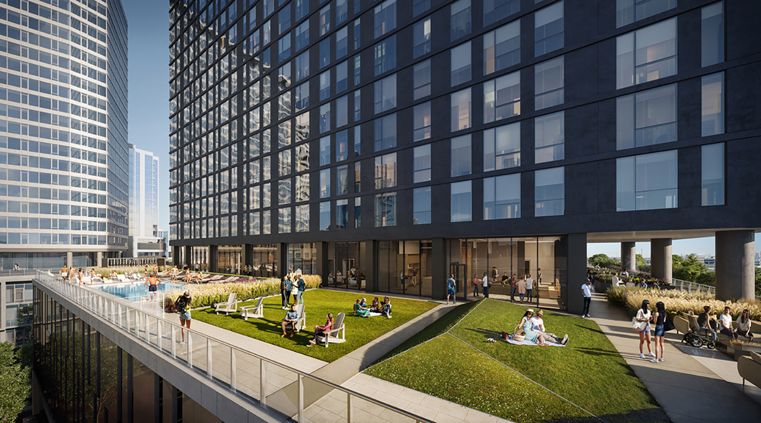 Exterior Terrace at The Reed. Rendering by Perkins + Will