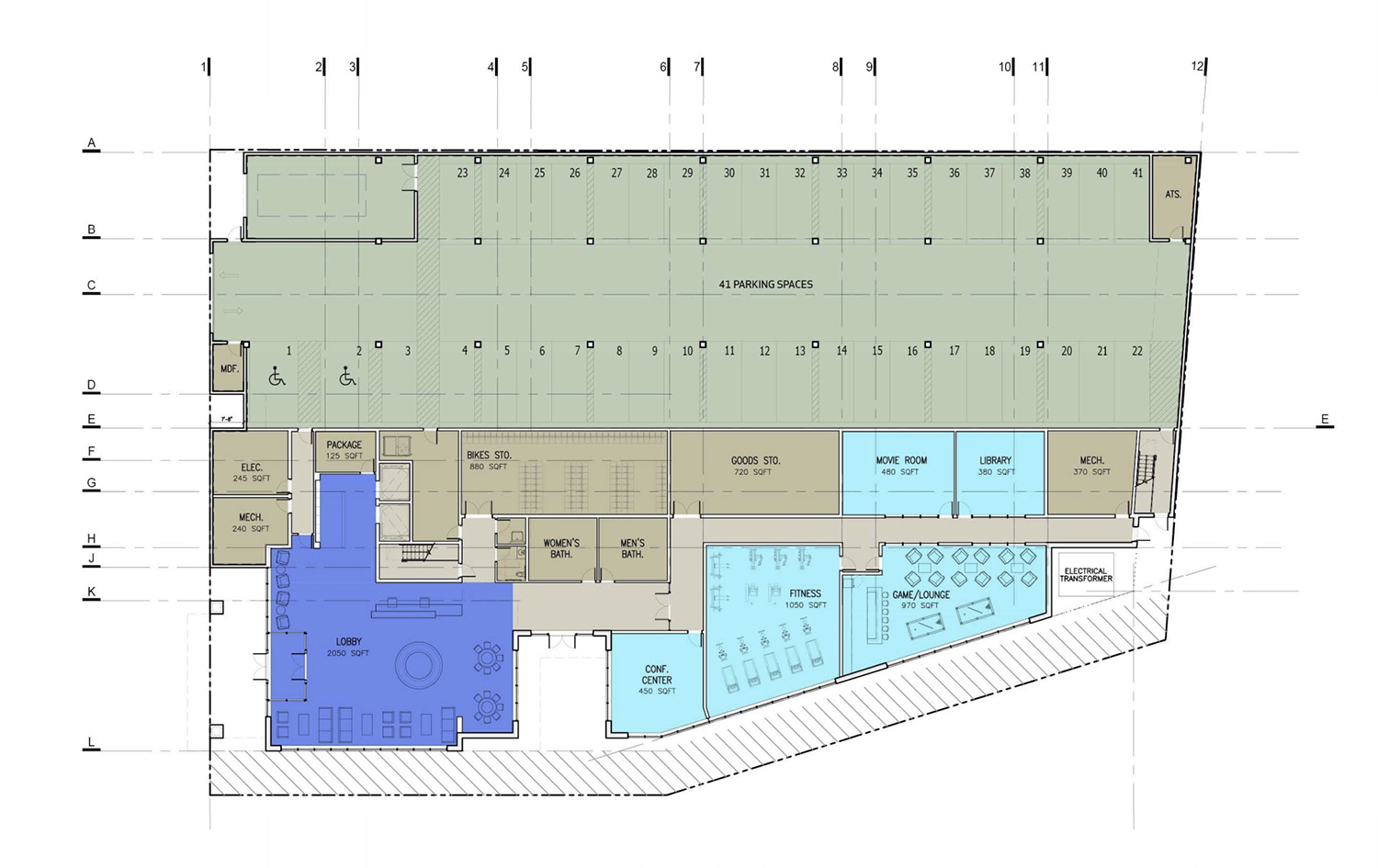 Ground Floor Plan for Building C. Drawing by BuiltForm