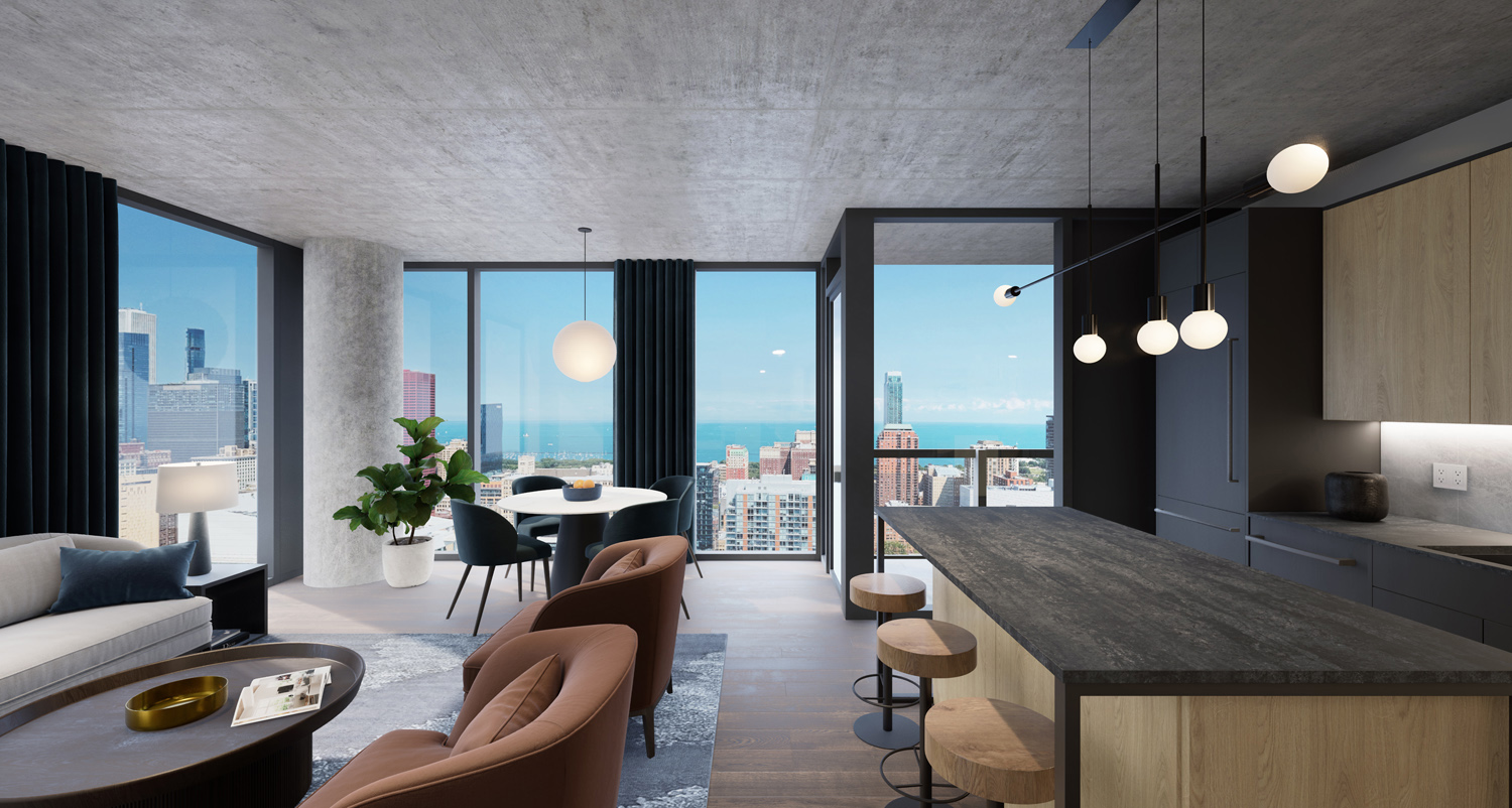 Interior Residence at The Reed. Rendering by Perkins + Will