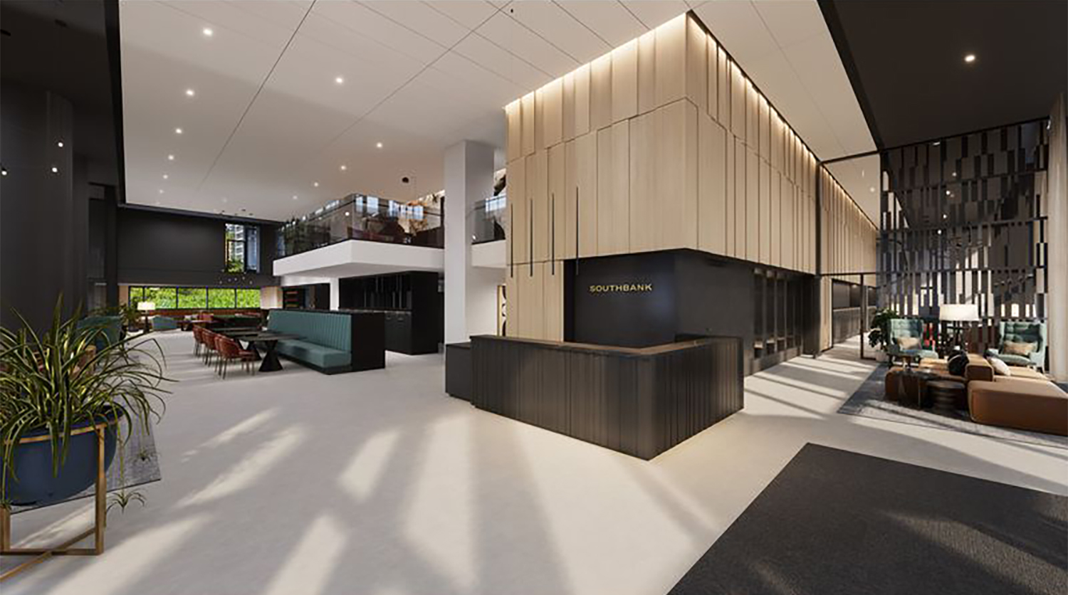 Lobby at The Reed. Rendering by Perkins + Will