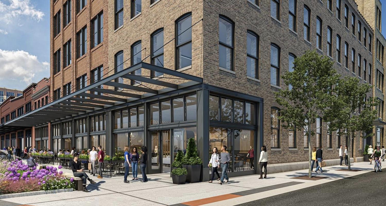 Pedestrian View of 900 W Fulton Market. Rendering by Hartshorne Plunkard Architecture