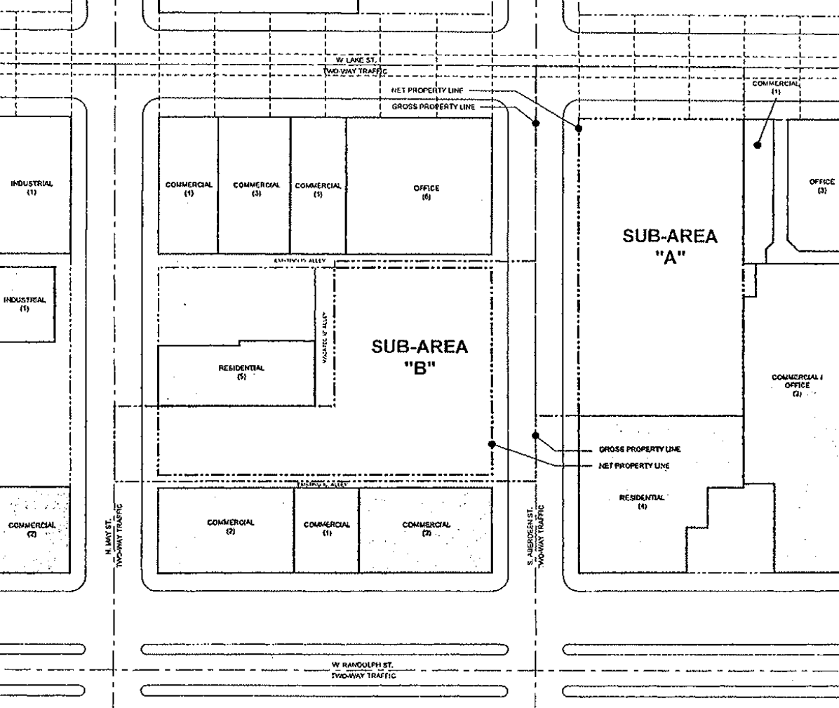 "166 N Aberdeen Street site area boundaries (Sub-Area ""B"" / left)"