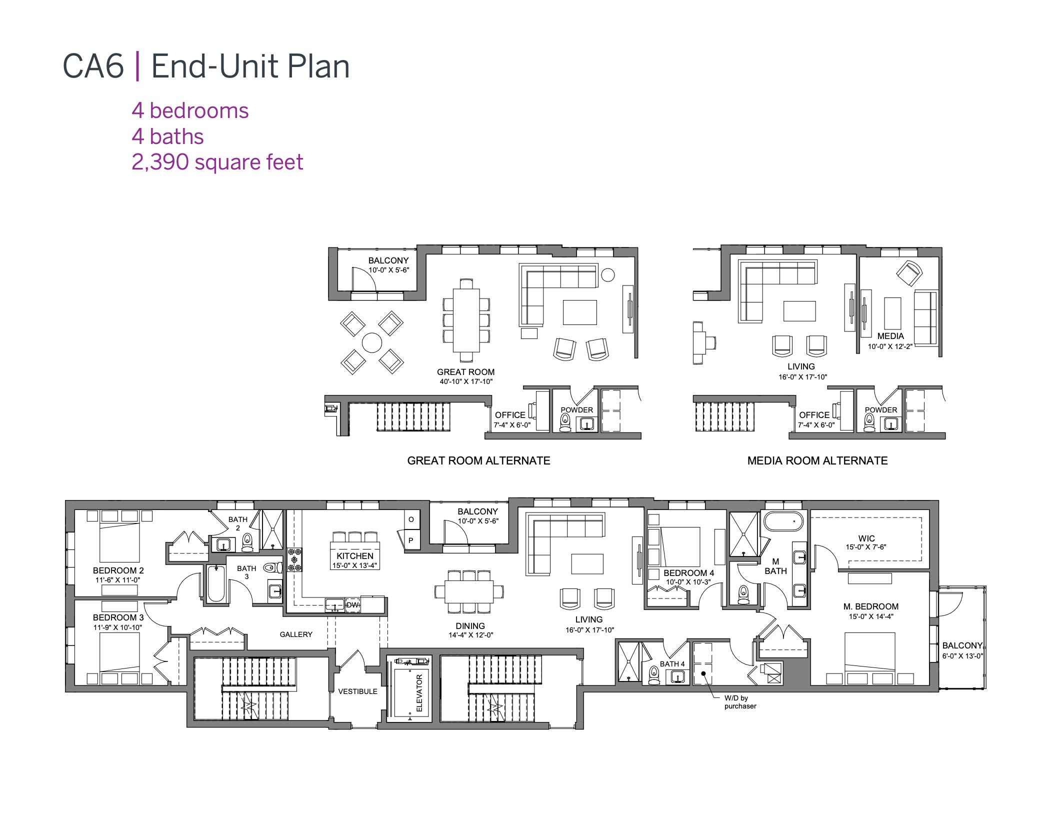 CA6 Condominiums end-unit plan (four bedroom)