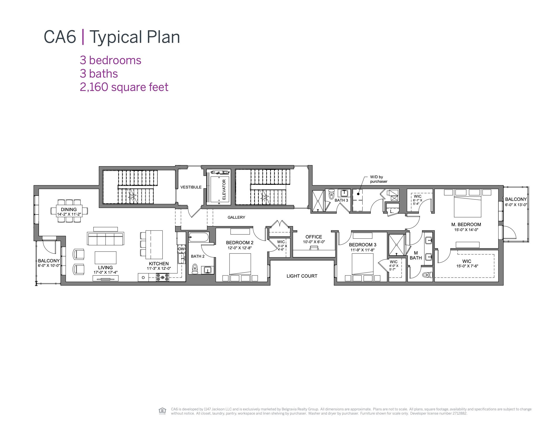 CA6 Condominiums typical floor plan (three bedroom)