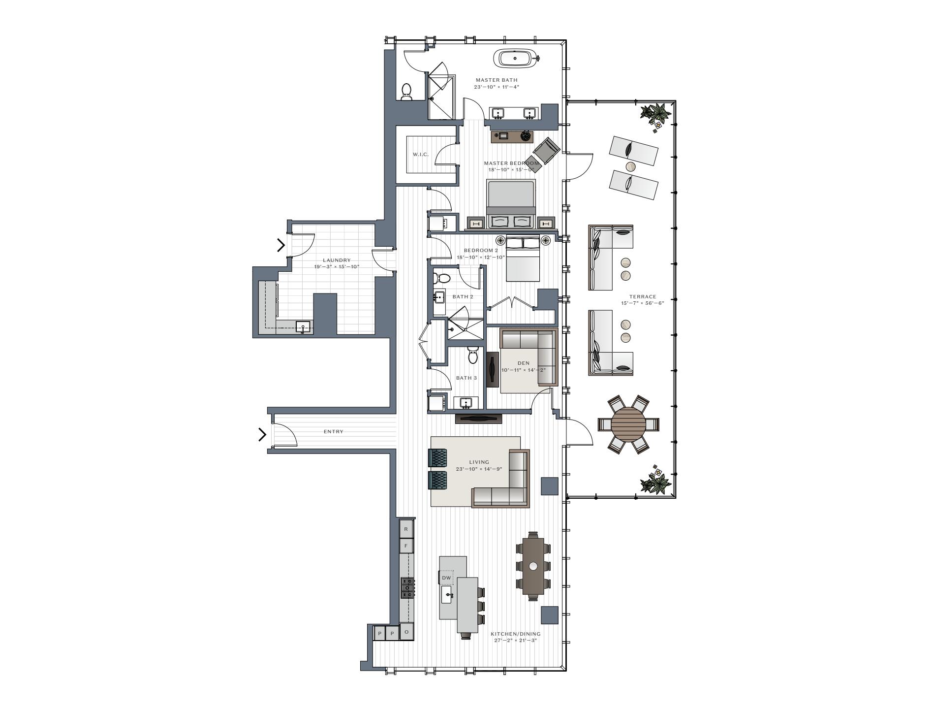 One Chicago Square two-bedroom condominium