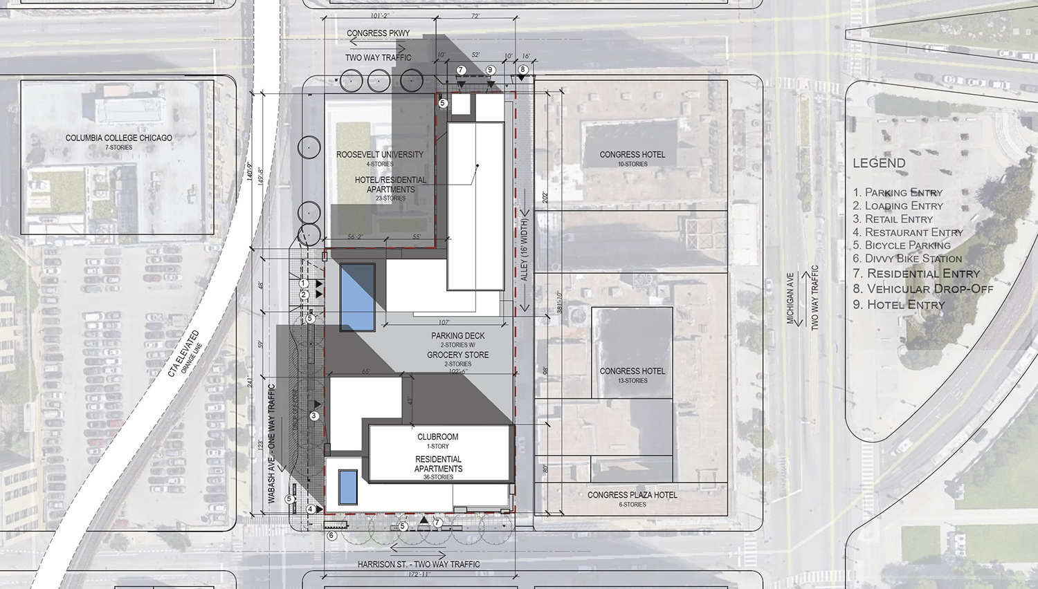 Site Plan for 525 S Wabash Avenue. Drawing by BKV Group