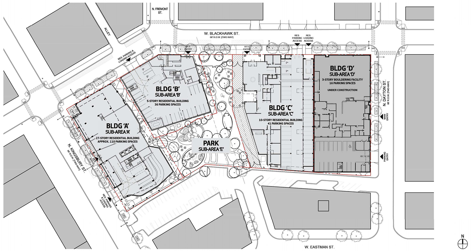 Site Plan for Big Deahl at 1450 N Dayton Street. Drawing by GREC Architects