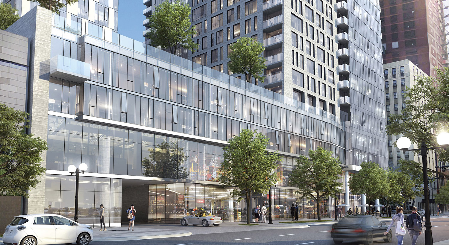View of Streetscape at 525 S Wabash Avenue. Rendering by BKV Group