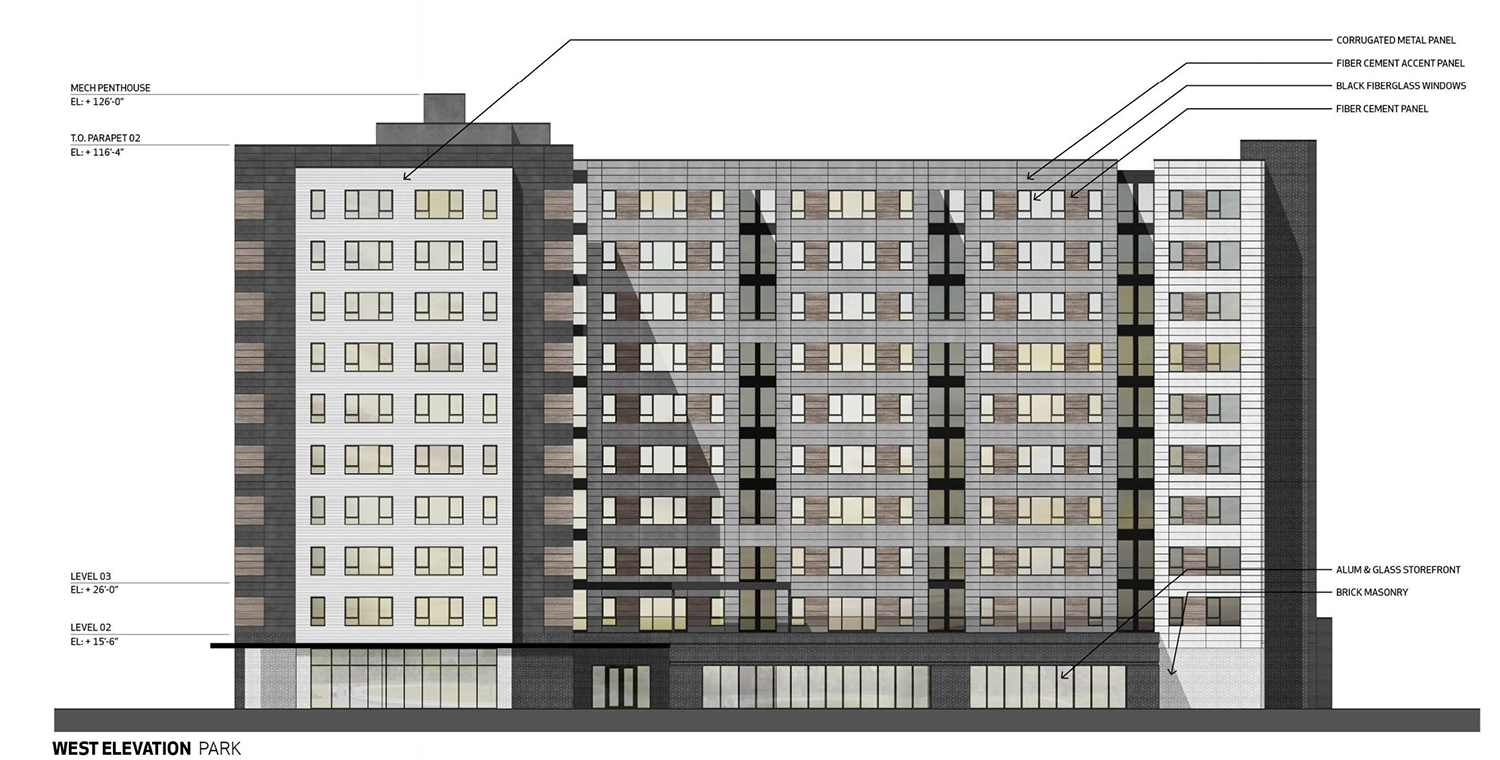 West Elevation for Building C. Drawing by BuiltForm