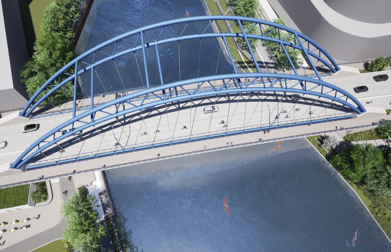 Aerial View of Dominick Street Bridge. Rendering by Sterling Bay