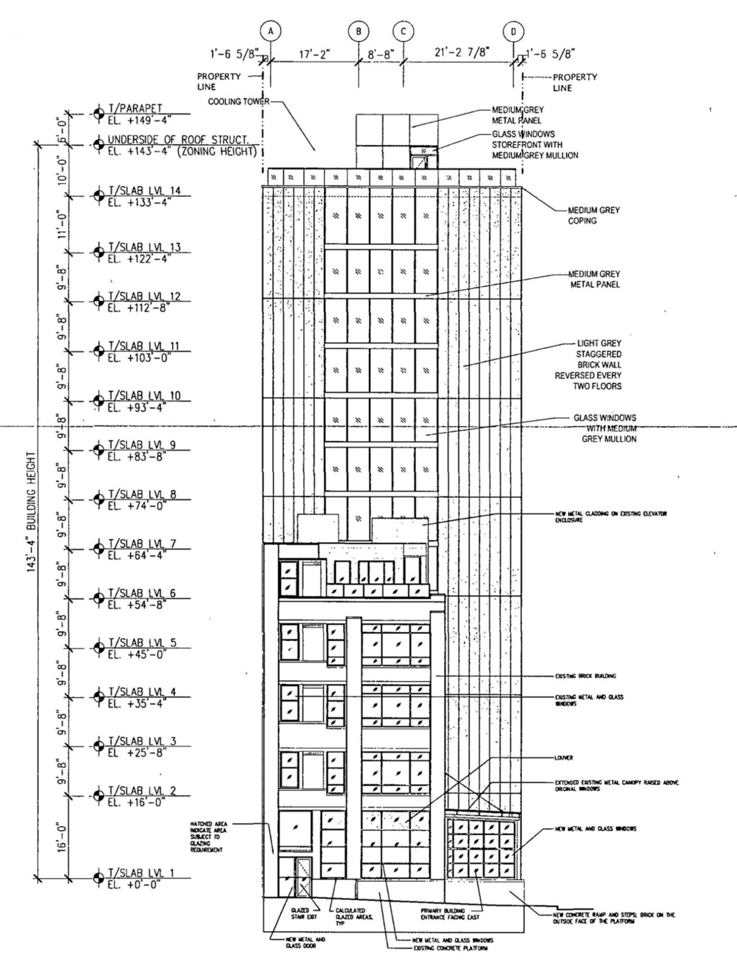 East Elevation for 311 N Sangamon Street and 310 N Peoria Street. Drawing by Hirsch MPG