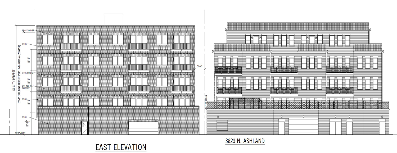 East Elevation for 3817 N Ashland Avenue. Drawing by 360 Design Studio
