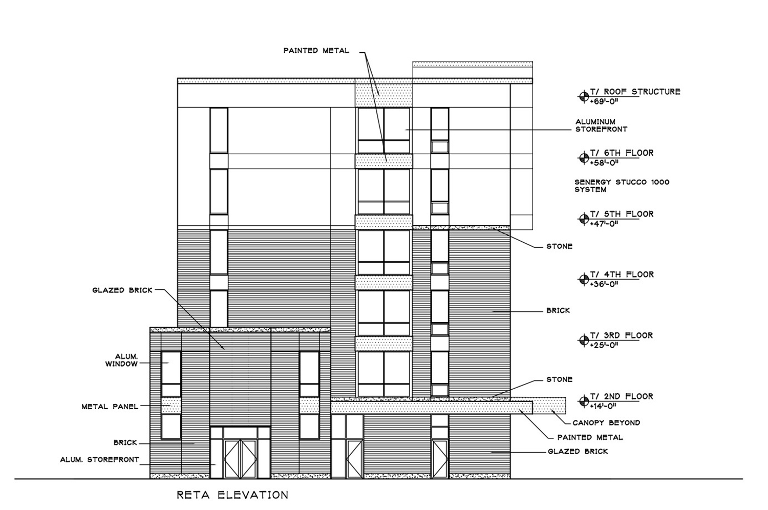 East Elevation for 835 W Addison Street. Drawing by Weese Langley Weese