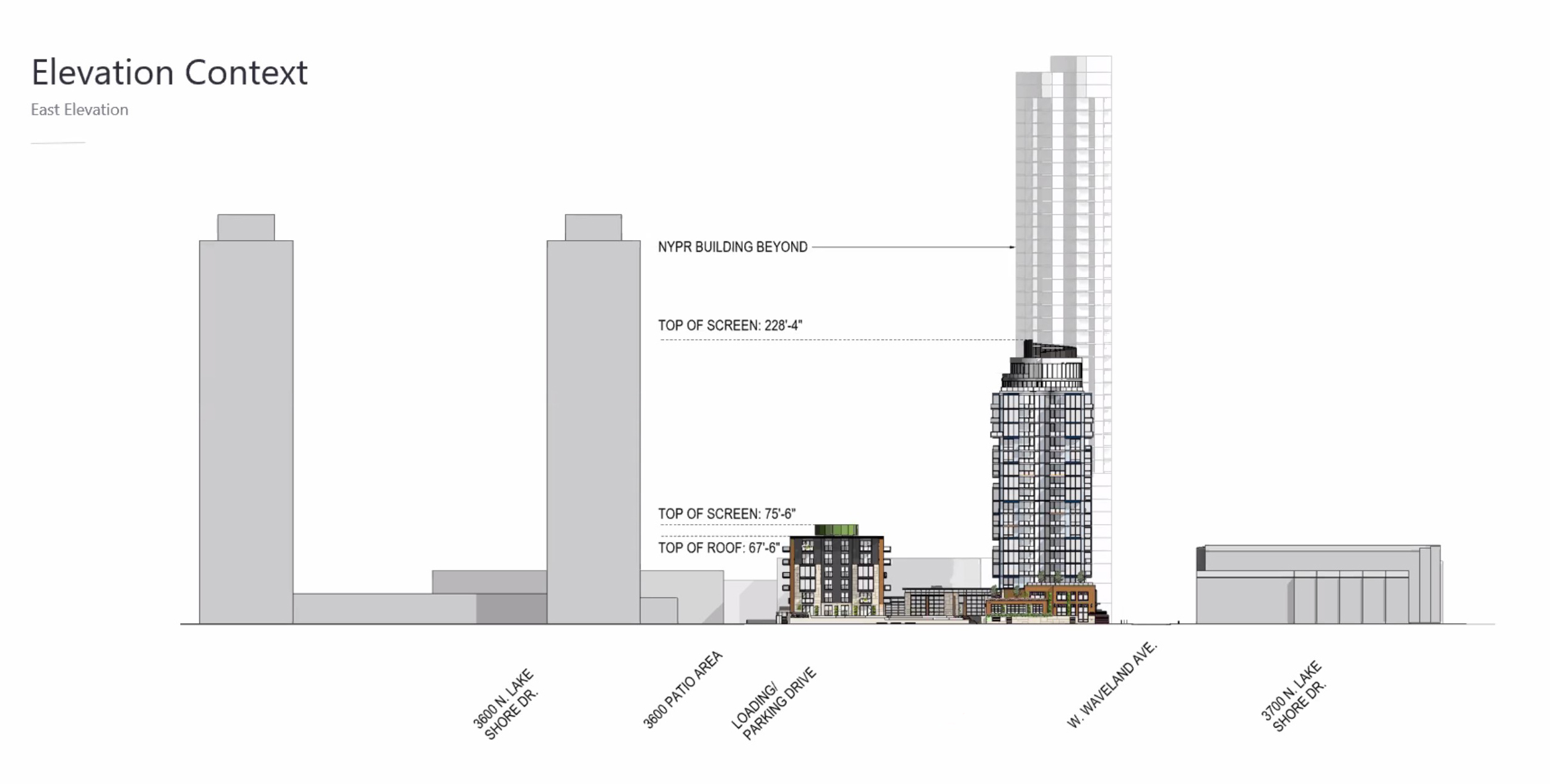 East Elevation of 3636 N Lake Shore Drive. Drawing by BKV Group