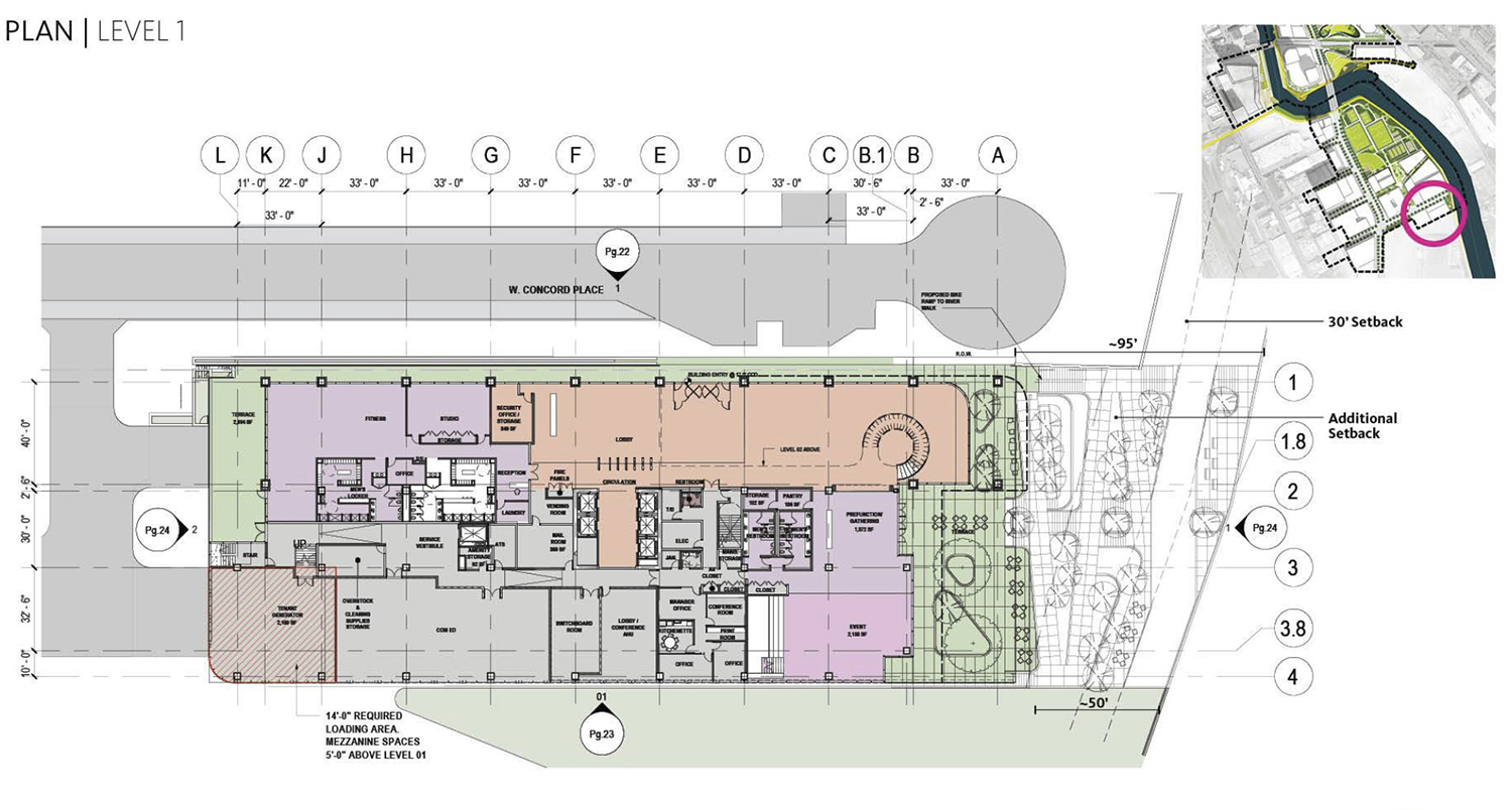 Ground Floor Plan for Life Sciences Building at Lincoln Yards. Drawing by Gensler