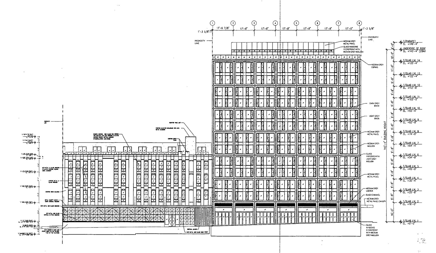 North Elevation for 311 N Sangamon Street and 310 N Peoria Street. Drawing by Hirsch MPG
