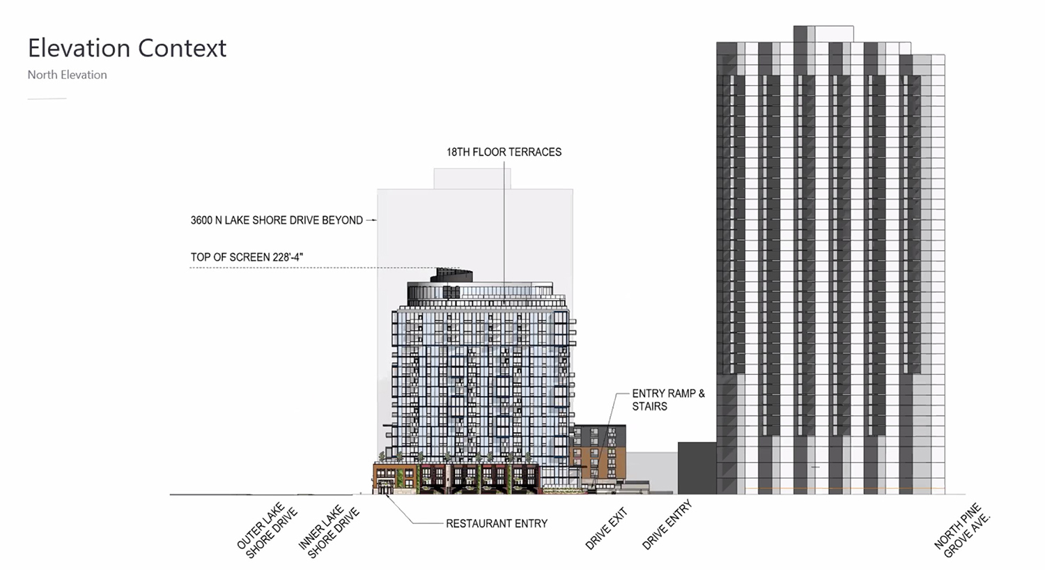 North Elevation of 3636 N Lake Shore Drive. Drawing by BKV Group