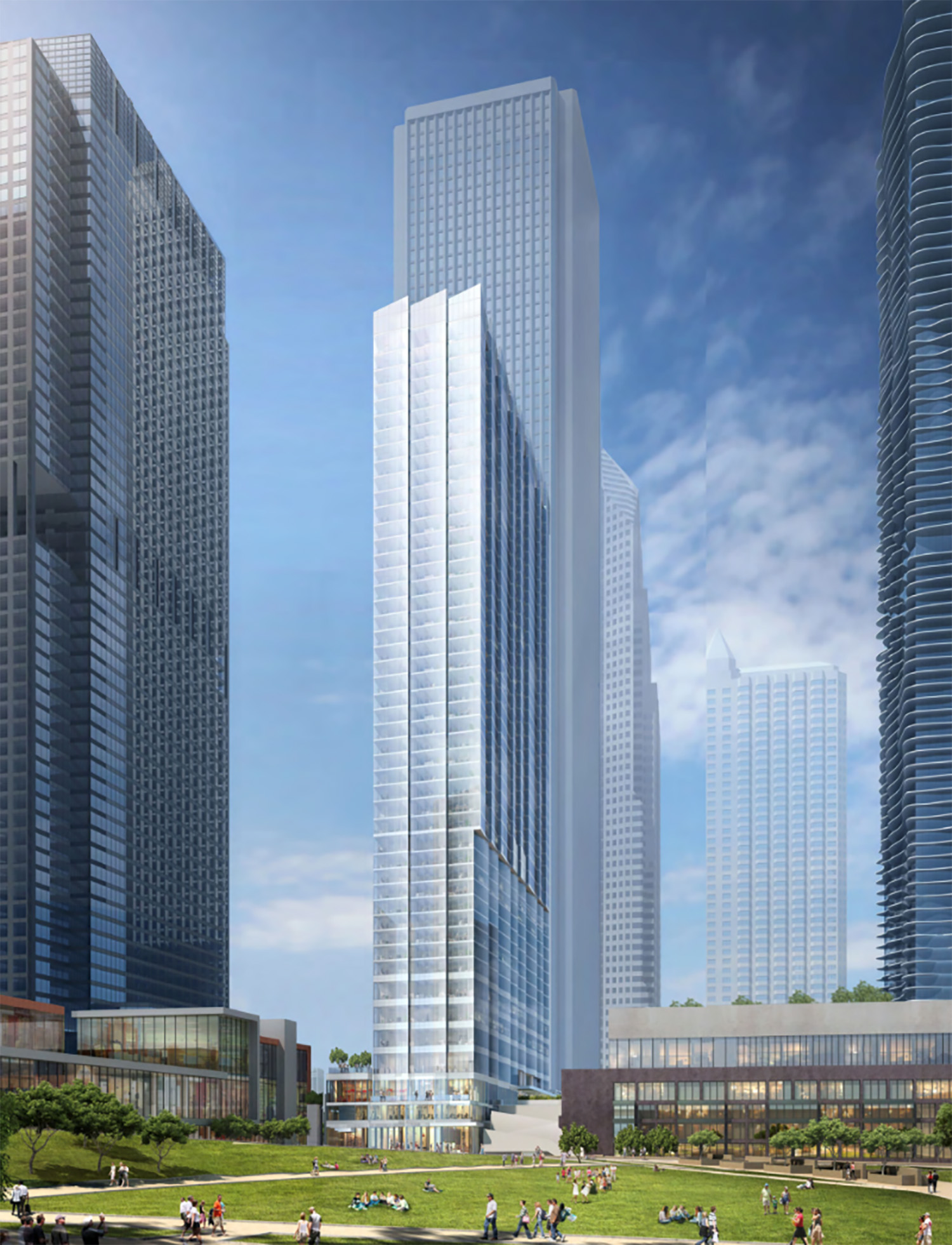 Northeast View of Revised Design for Parcel O Tower. Rendering by bKL Architecture