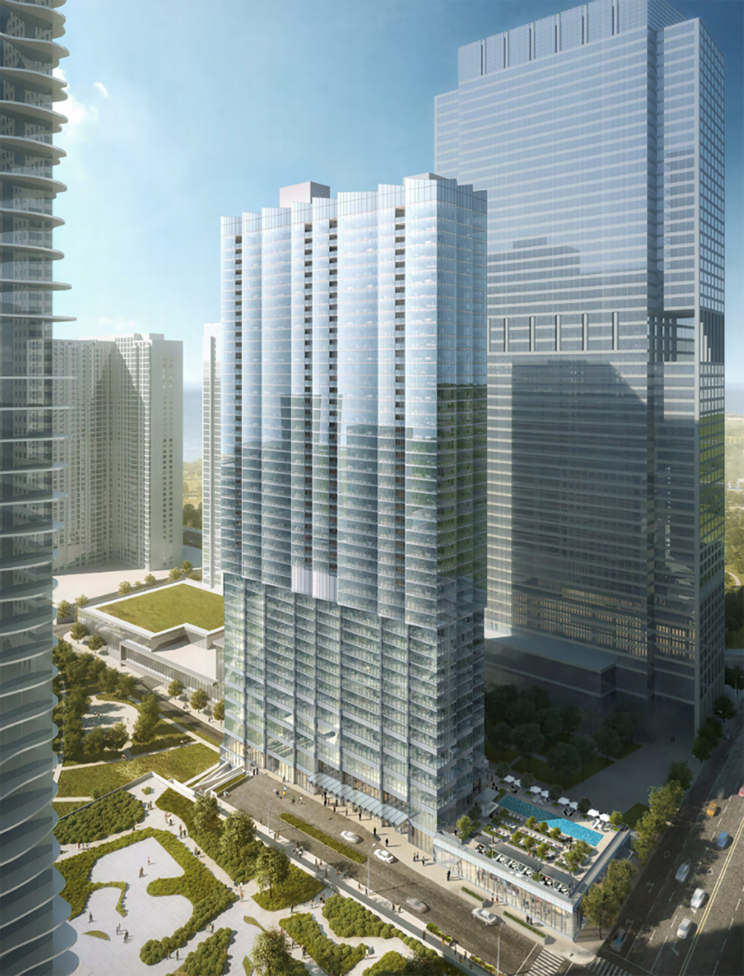 Northwest View of Revised Design for Parcel O Tower. Rendering by bKL Architecture