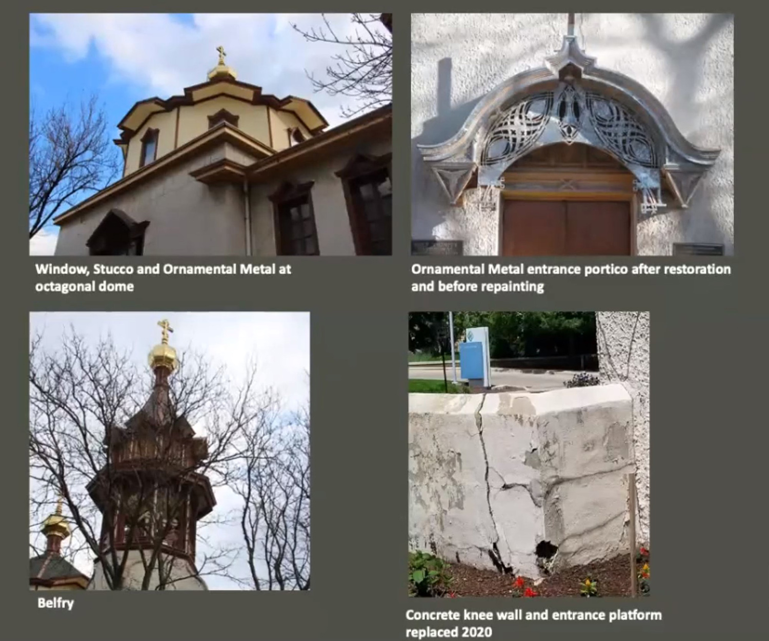 Previous Restoration Work on Holy Trinity Orthodox Cathedral and Rectory. Images by Landmarks Commission