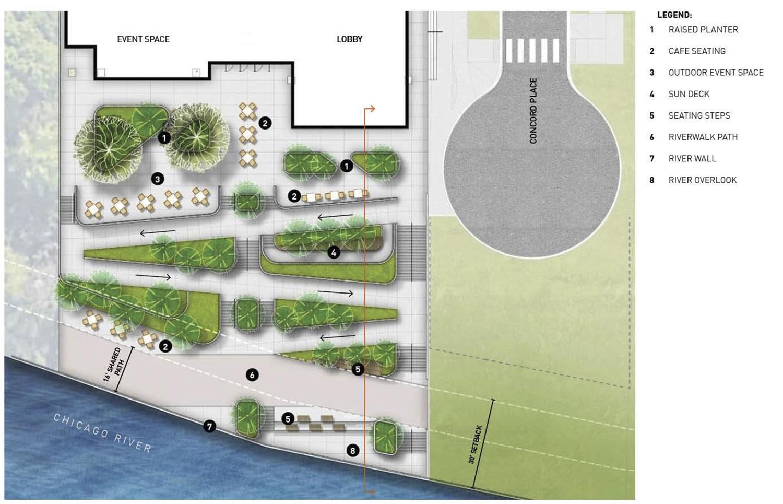 Riverwalk Landscape Plan for Life Sciences Building at Lincoln Yards. Diagram by Gensler