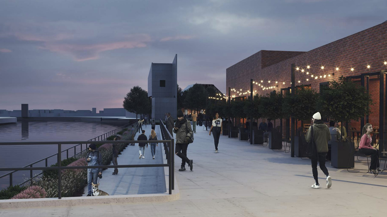 Riverwalk at Morton Salt Development. Rendering by Lamar Johnson Collaborative