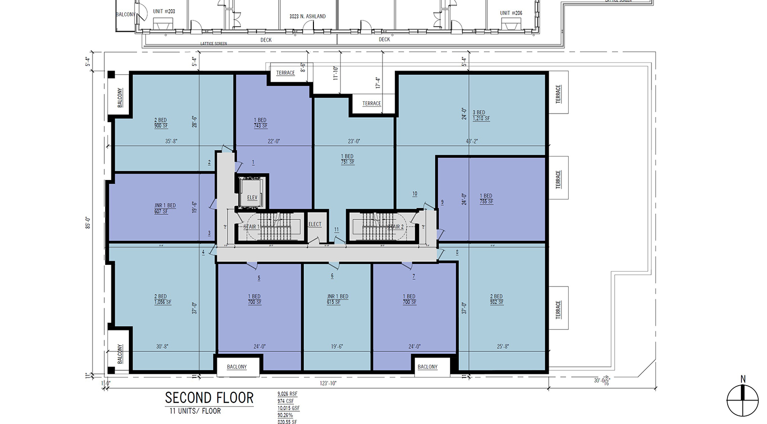 Second Floor Plan for 3817 N Ashland Avenue. Drawing by 360 Design Studio