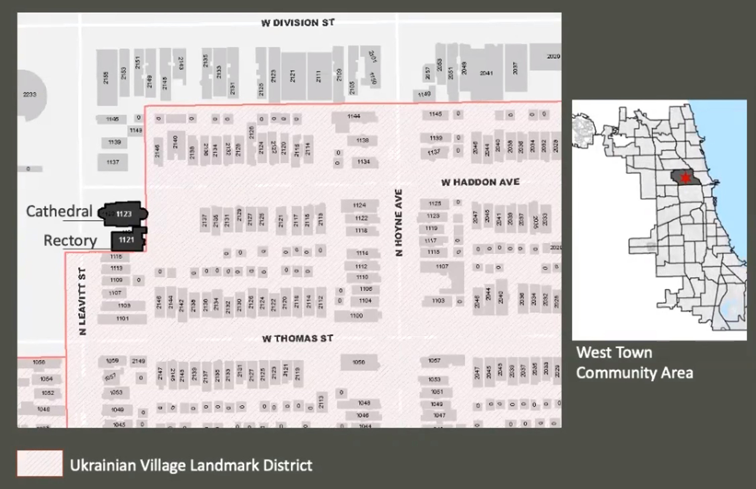 Site Context Map for Holy Trinity Orthodox Cathedral and Rectory. Images by Landmarks Commission
