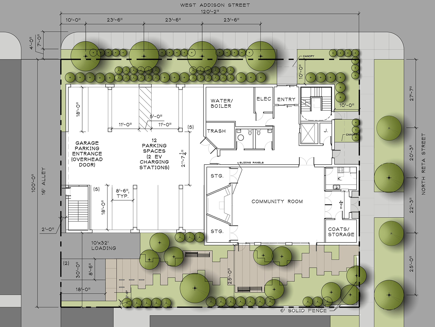 Site Plan for 835 W Addison Street. Drawing by Weese Langley Weese